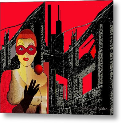 014 - In  Red   City Darkness Metal Print by Irmgard Schoendorf Welch