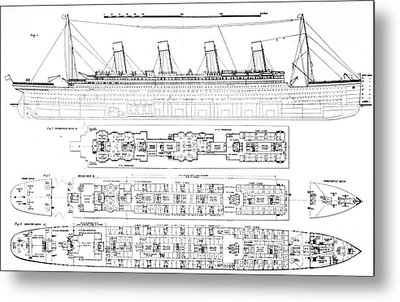 Inquiry Into The Loss Of The Titanic Cross Sections Of The Ship  Metal Print by English School