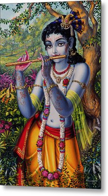 Krishna With Flute  Metal Print by Vrindavan Das