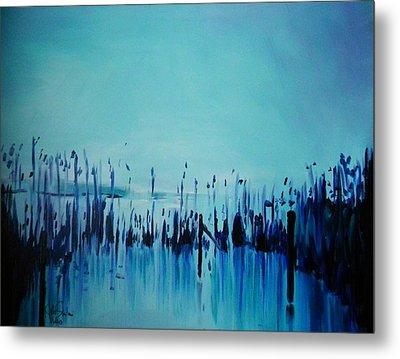 Lake With Reeds In Blue Metal Print by Jolanta Shiloni