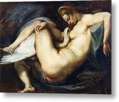 Leda And The Swan Metal Print by Peter Paul Rubens