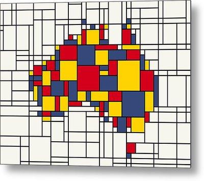 Mondrian Inspired Australia Map Metal Print by Michael Tompsett