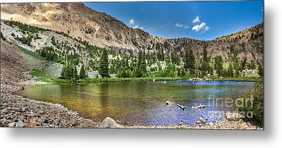 Panoramic View Of An Alpine Lake Metal Print by Robert Bales