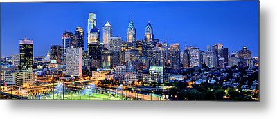 Philadelphia Skyline At Night Evening Panorama Metal Print by Jon Holiday