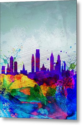 Philadelphia Watercolor Skyline Metal Print by Naxart Studio