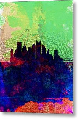 Pittsburgh Watercolor Skyline Metal Print by Naxart Studio