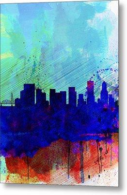 Portland Watercolor Skyline Metal Print by Naxart Studio