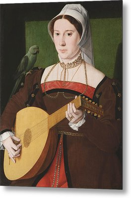 Portrait Of A Woman Playing A Lute Metal Print by Celestial Images