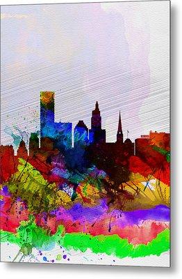 Providence Watercolor Skyline Metal Print by Naxart Studio