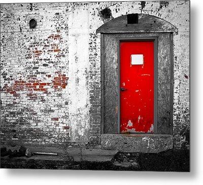 Red Door Perception Metal Print by Bob Orsillo
