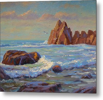 Rocks West Coast Metal Print by Terry Perham