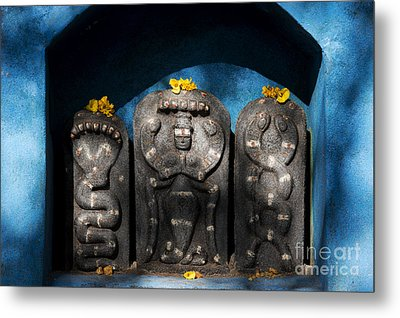 Rural Indian Hindu Shrine  Metal Print by Tim Gainey