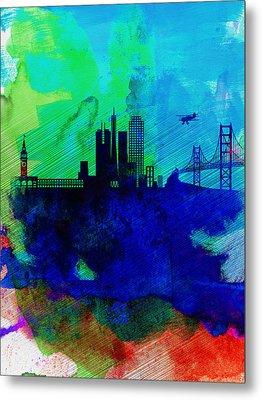 San Francisco Watercolor Skyline 2 Metal Print by Naxart Studio