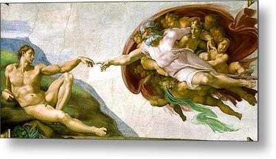 The Creation Of Adam Metal Print by Michelangelo di Lodovico Buonarroti Simoni