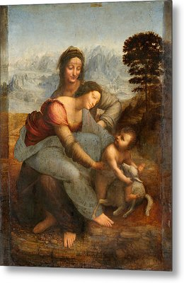 The Virgin And Child With St. Anne Metal Print by Leonardo Da Vinci