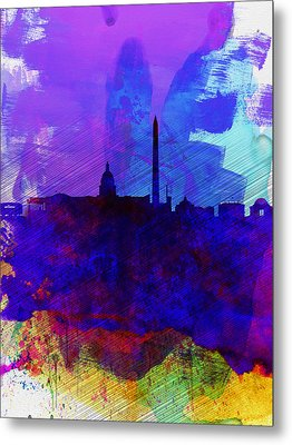 Washington Dc Watercolor Skyline 2 Metal Print by Naxart Studio