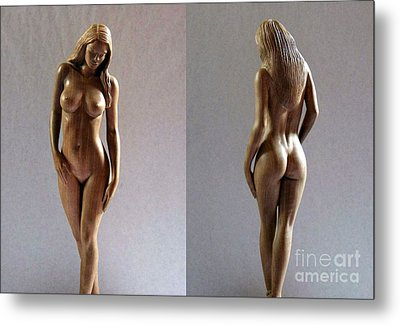 Wood Sculpture Of Naked Woman Metal Print by Carlos Baez Barrueto