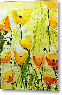Yellow Poppy 2 - Abstract Floral Painting Metal Print by Ismeta Gruenwald