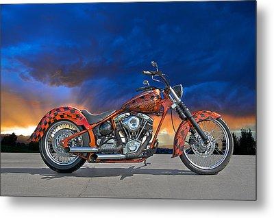02 Hd Custom Bike Metal Print by Dave Koontz