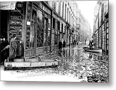 10th Century Flooded Paris Street Metal Print by Collection Abecasis