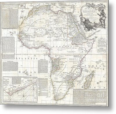 1794 Boulton And Anville Wall Map Of Africa Metal Print by Paul Fearn