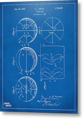 1929 Basketball Patent Artwork - Blueprint Metal Print by Nikki Marie Smith