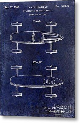 1940 Toy Car Patent Drawing Blue Metal Print by Jon Neidert