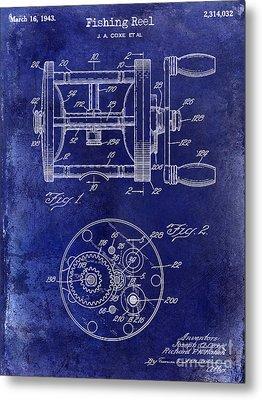 1943 Fishing Reel Patent Drawing Blue Metal Print by Jon Neidert