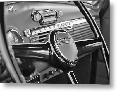 1950 Chevrolet 3100 Pickup Truck Steering Wheel Metal Print by Jill Reger