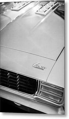 1969 Chevrolet Camaro 396 Rs Ss L89 Hood Emblem Metal Print by Jill Reger