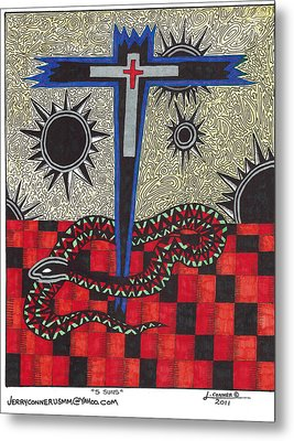 Cross Metal Print by Jerry Conner