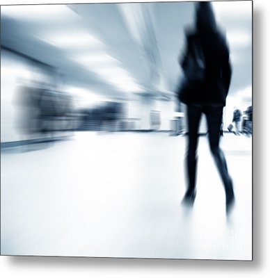 A Person Lost In The Rush Metal Print by Michal Bednarek