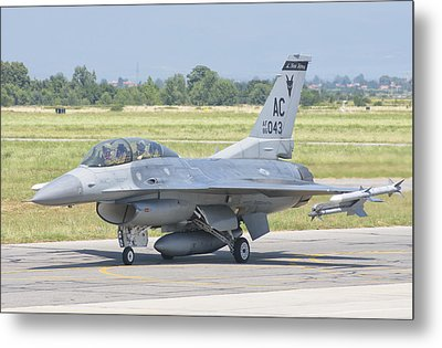 A U.s. Air Force F-16 During Exercise Metal Print by Giovanni Colla