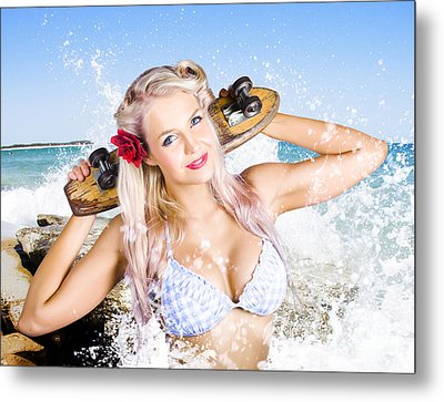 Active Sexy Summer Beach Babe With Skateboard Metal Print by Jorgo Photography - Wall Art Gallery