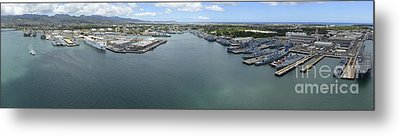 Aerial View Of Military Ships Moored Metal Print by Stocktrek Images
