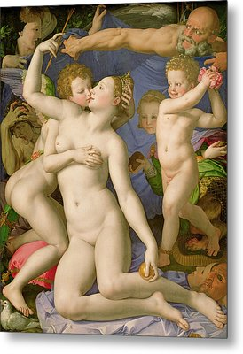 An Allegory With Venus And Cupid Metal Print by Agnolo Bronzino