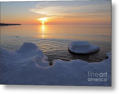 An Icy  Superior Sunrise Metal Print by Sandra Updyke