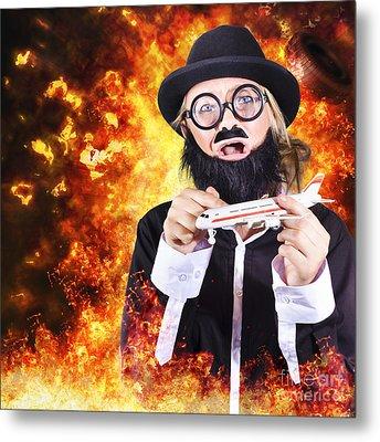 Angry Business Terrorist Hijacking Model Plane Metal Print by Jorgo Photography - Wall Art Gallery