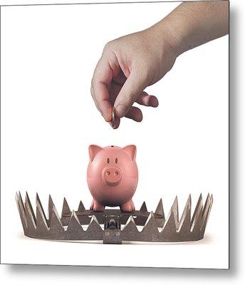 Animal Trap With Piggy Bank Metal Print by Ktsdesign
