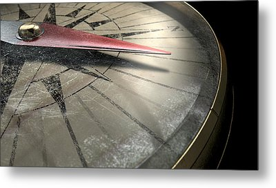 Antique Compass Closeup Metal Print by Allan Swart
