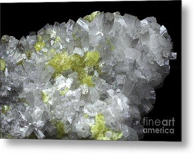 Aragonite Crystals With Sulphur Metal Print by Dirk Wiersma