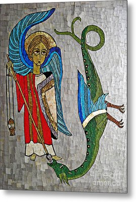Archangel Michael And The Dragon    Metal Print by Sarah Loft