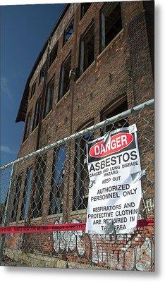 Asbestos Warning Sign Metal Print by Jim West