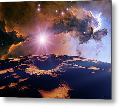 Asteroid And Eagle Nebula Metal Print by Nasa, Esa, And The Hubble Heritage Team Stsci/aura)//detlev Van Ravenswaay