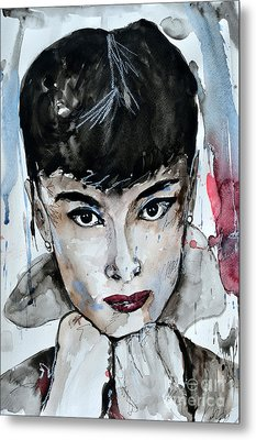 Audrey Hepburn - Abstract Art Metal Print by Ismeta Gruenwald