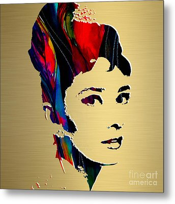Audrey Hepburn Gold Series Metal Print by Marvin Blaine