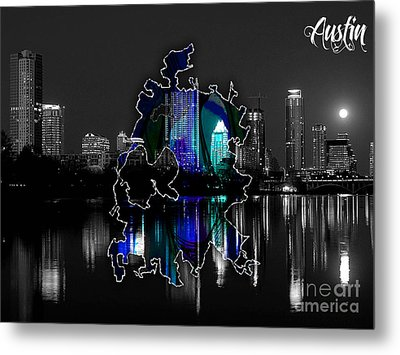 Austin Texas Map And Skyline Watercolor Metal Print by Marvin Blaine