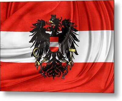 Austrian Flag Metal Print by Les Cunliffe