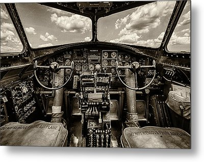 Cockpit Of A B-17 Metal Print by Mike Burgquist