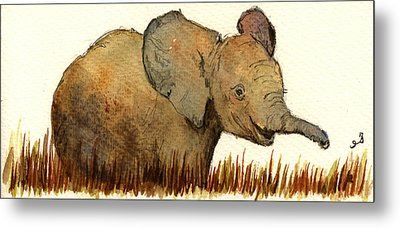 Baby Elephant Metal Print by Juan  Bosco